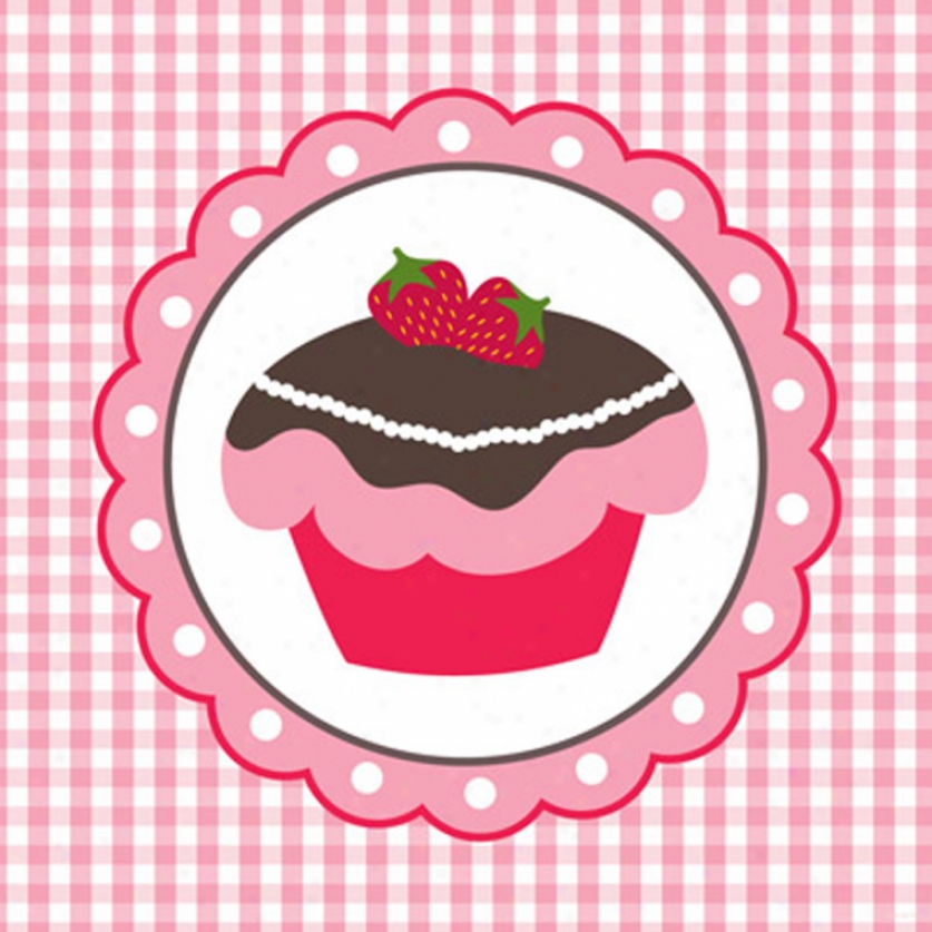 Strawberry Cake Canvas Art