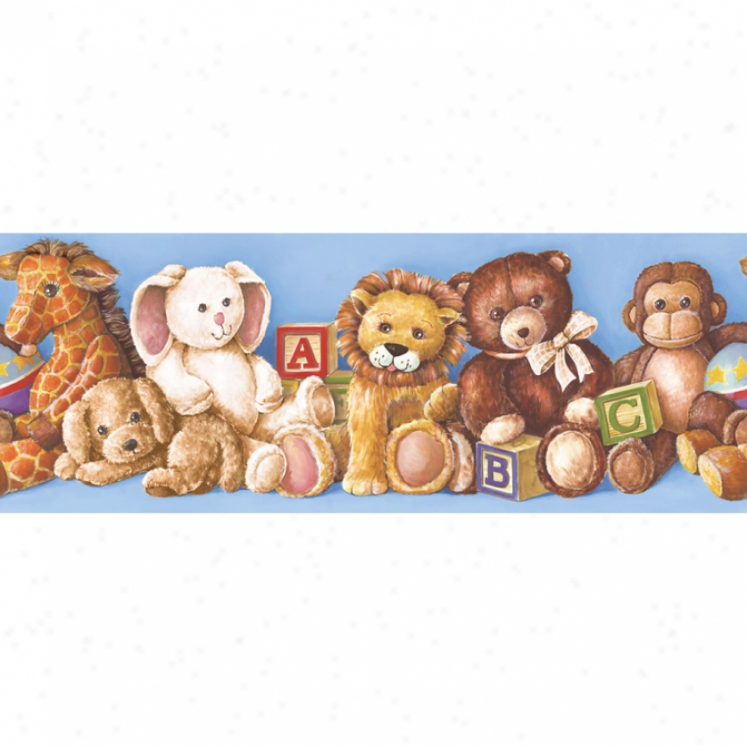 Stuffed Animals Blue Wallpaper Border
