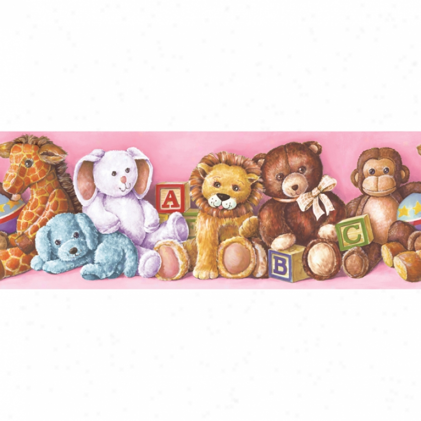 Stuffed Animals Pink Wallpaper Border