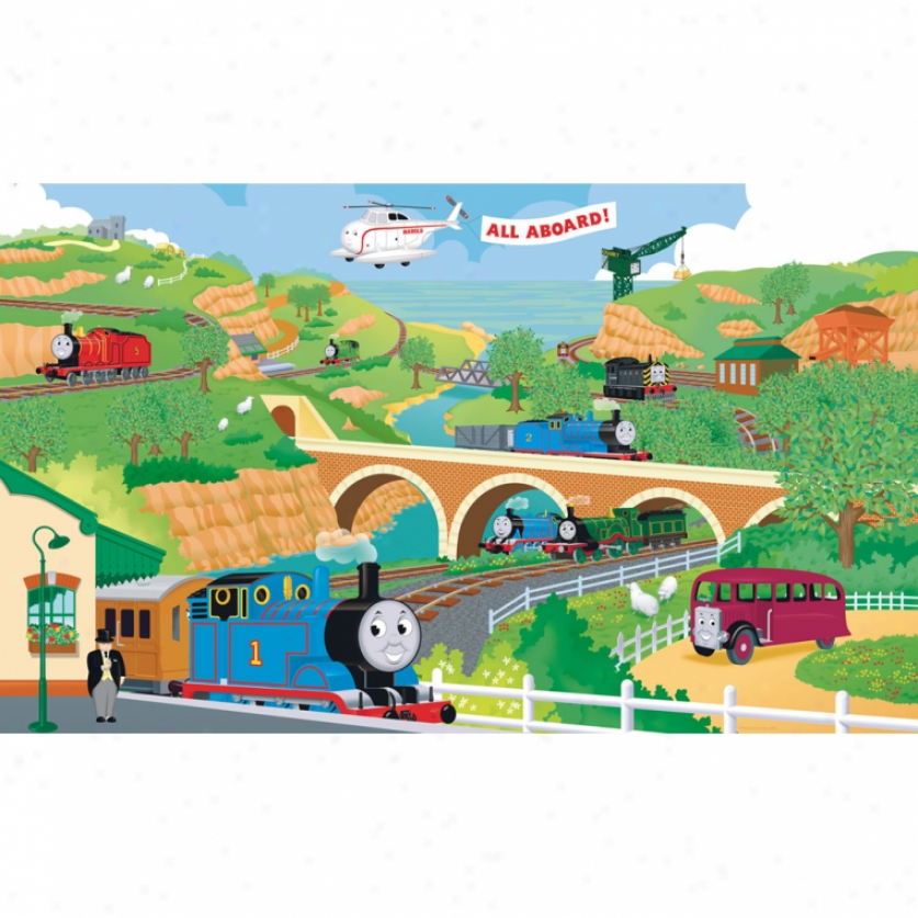 Thomas & Friends Xl Wallpaper Mural 1O.5' X 6'