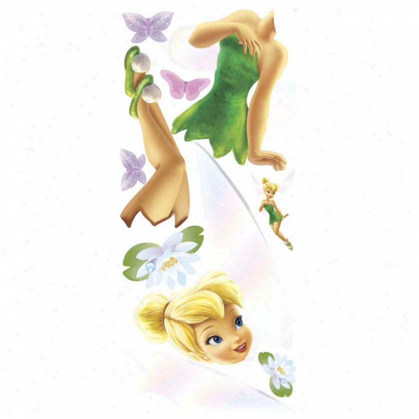 Tinker Bell Giant Wall Decal Wit hGlitter