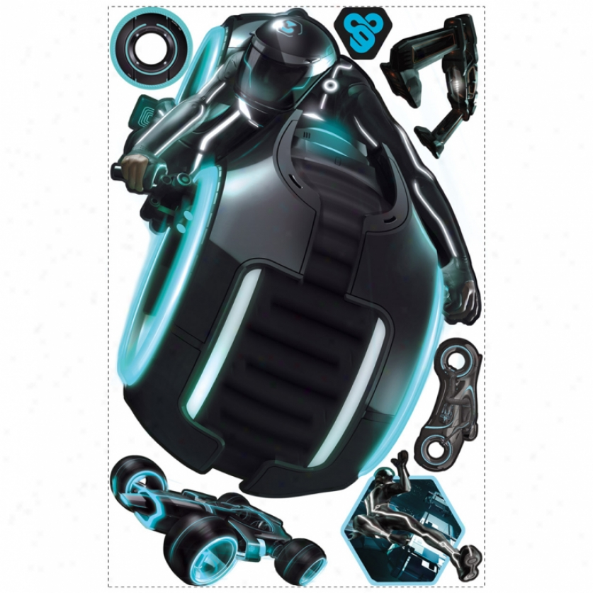 Tron: Legacy Light Cycle Glow In The Dark Giant Wall Decal