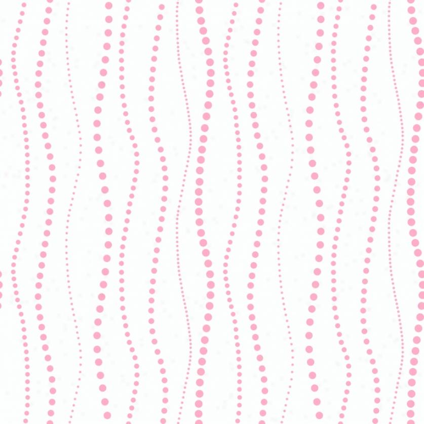 Wavy Beads White & Pink Wallpaper