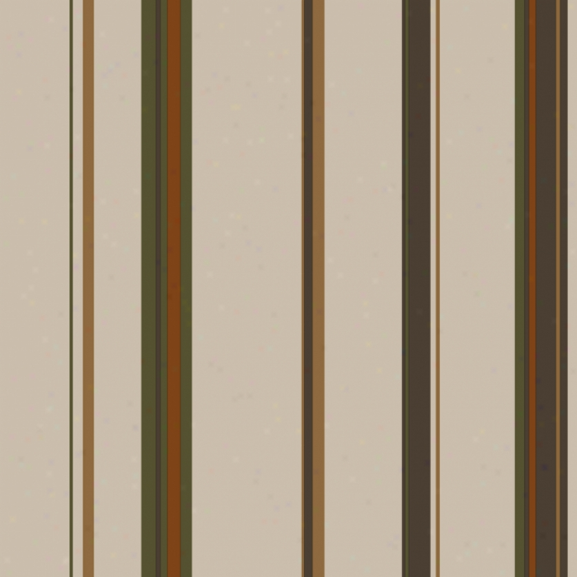 Wide Stripes Khaki, Orangge, & Brown Wallpaper