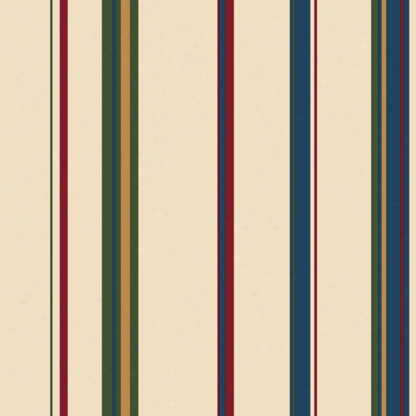 Wide Stripes Red, Blue, & Green Wallpaper
