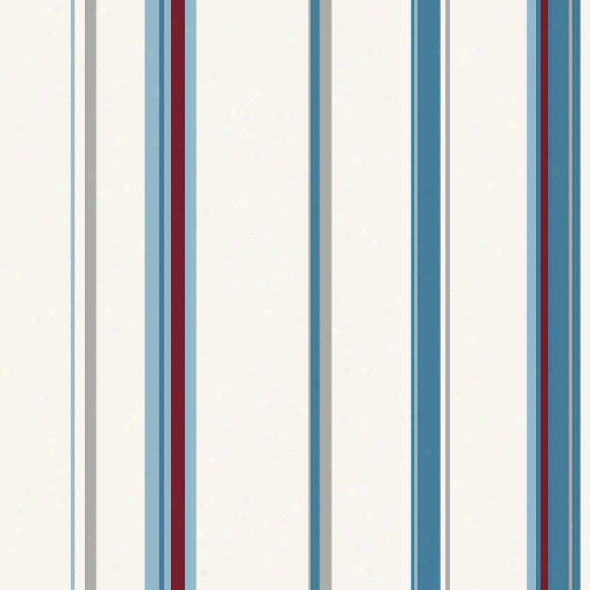 Wide Stripes Red, White, & Bue Wallpaper