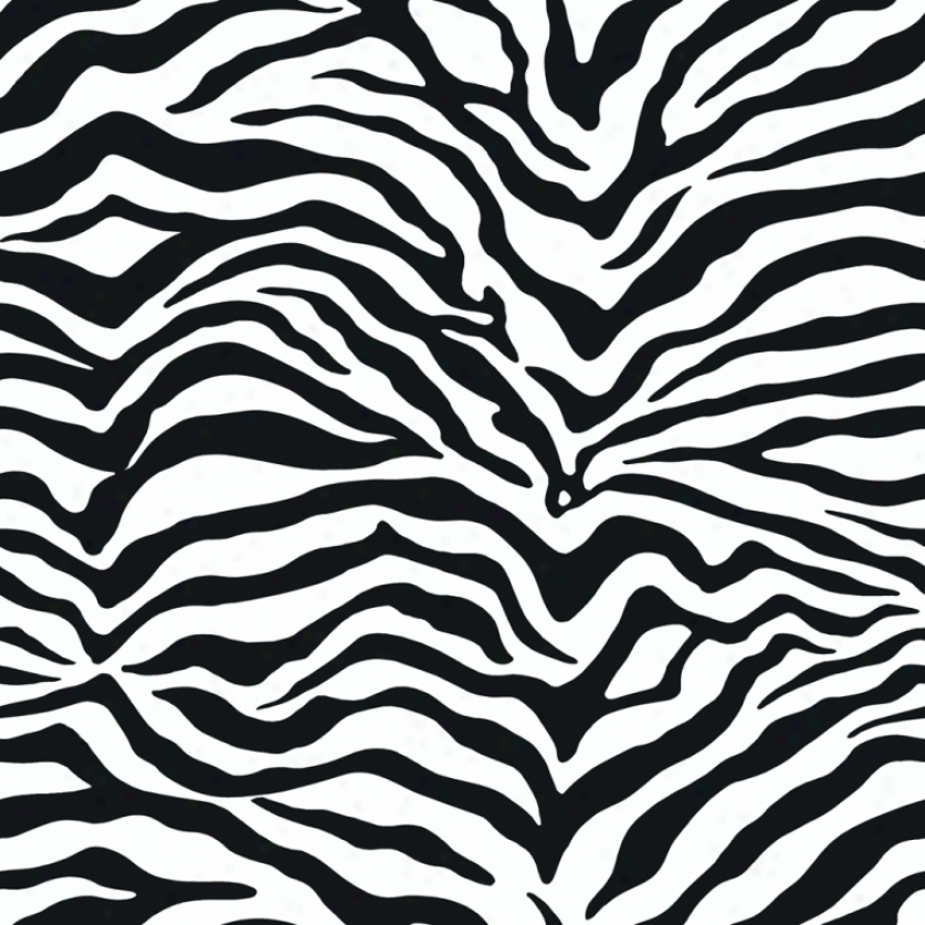 Zebra Print Black & White Wallpaper