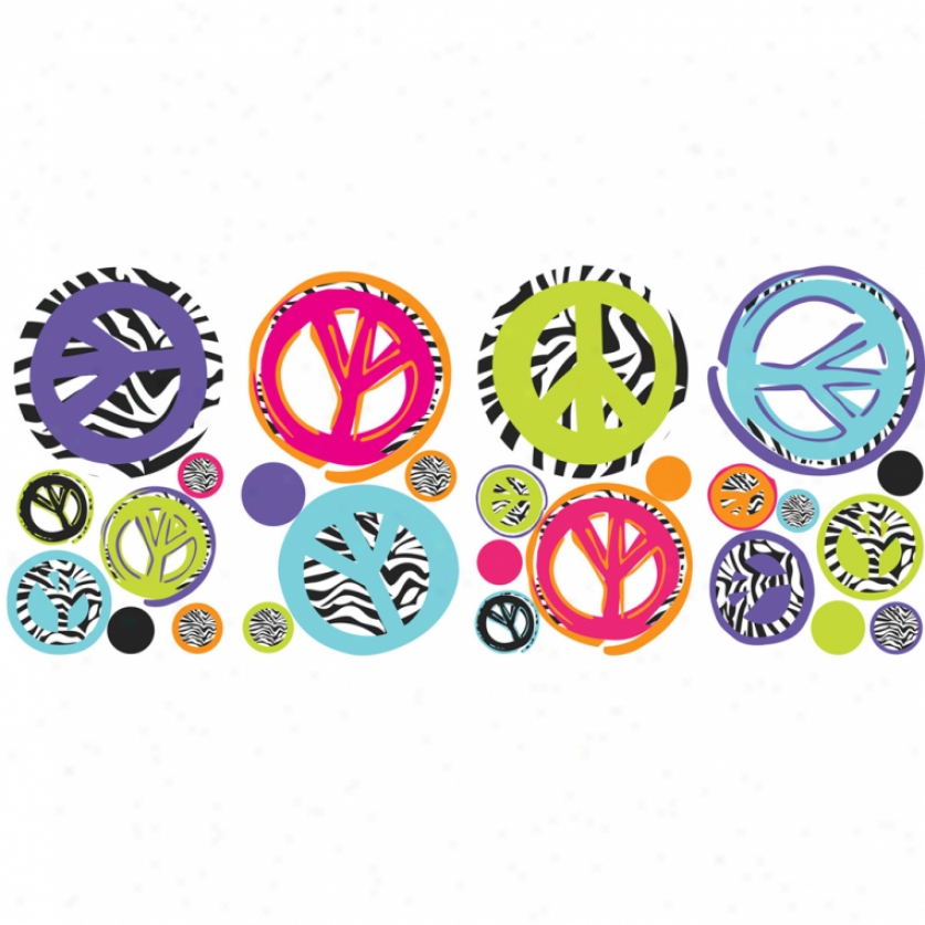 Zebra Print Peace Signs aWll Decals