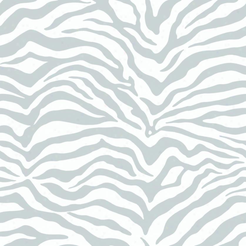 Zebraa Print Silver & White Wallpaper