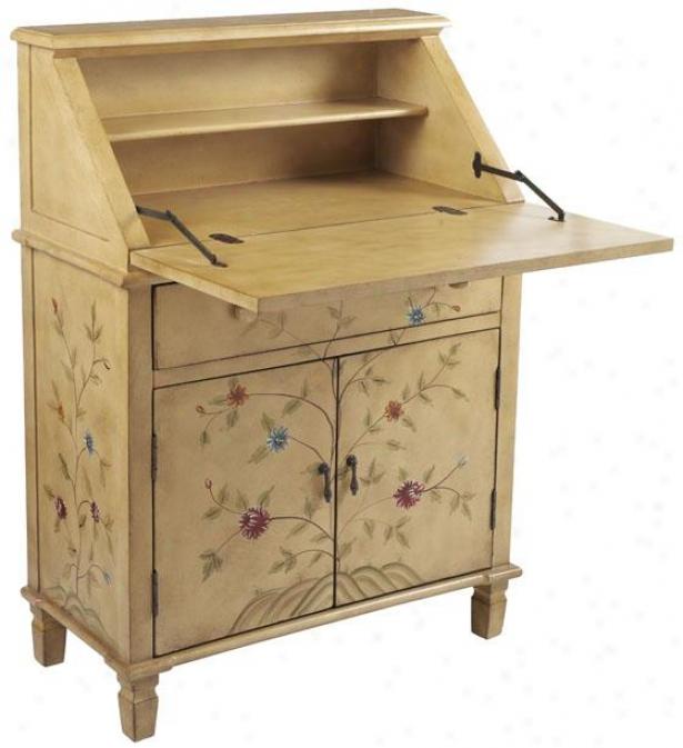 Amalia Daisy Vine Secretary Desk - Fold, Ivory