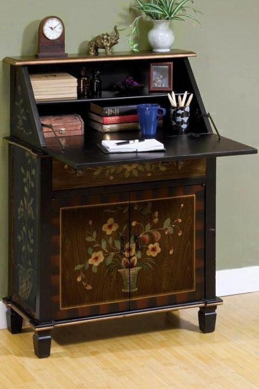 Amalia Golden Floral Secretary Desk - Double, Golden Floral