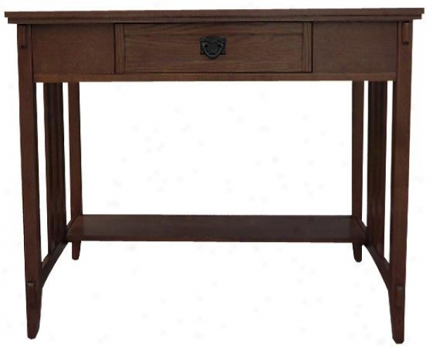 """artisan Computer/writing Desk - 48""""wx24""""dx30""""h, Brown Oak"""