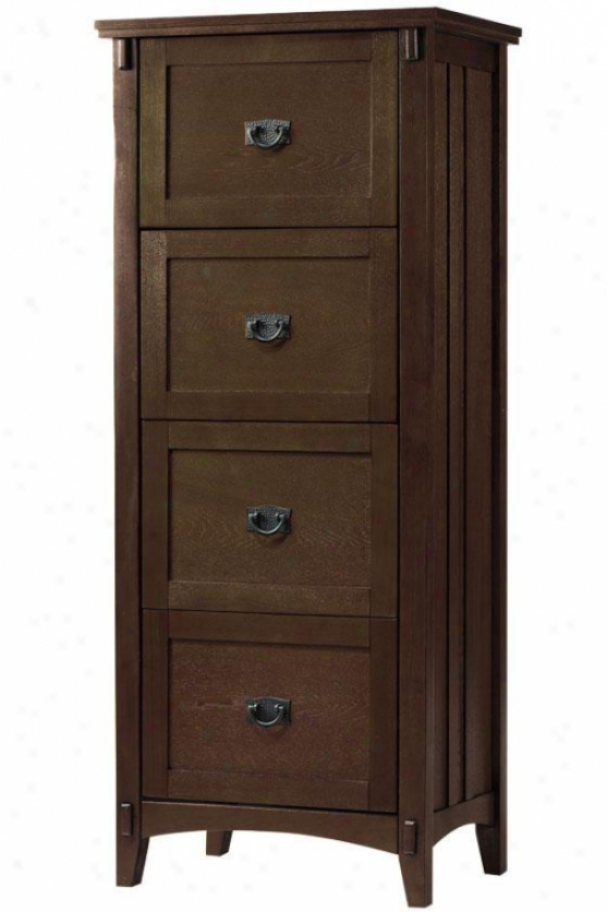 Artisan File Cabinet - 4 Drawer, Brown Oak