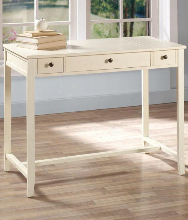 Ashlyn Hideaaway Desk - 2 Drawer, Whitr