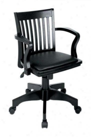 Banker's Desk Chair - Black Vinyl, Black