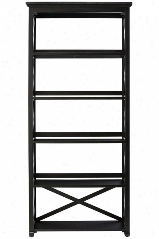 Brexley Five-helf Bookcase - 5 Shelf, Black