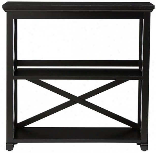 Brexley Two-shelf Bookcase - Short Bookcase, Black