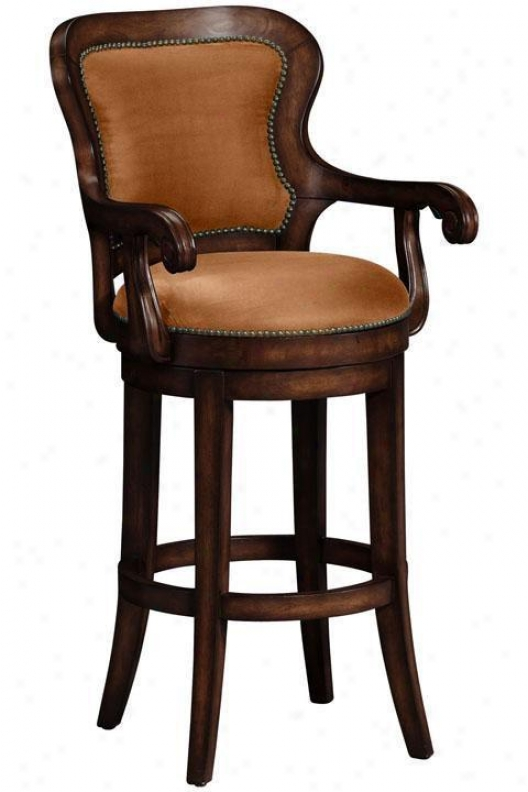 Briarwood Rounded-back Swivel Bar Stool - Brown Microfibr, Brown