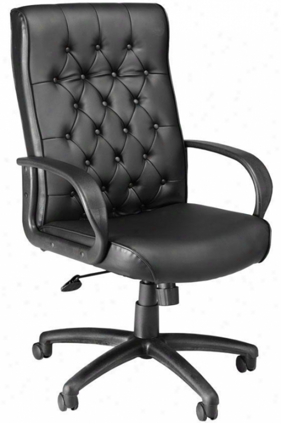 Button-tufted Executive Chair - High-back, Black