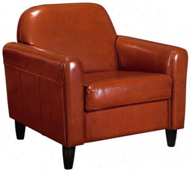 Cannes Leather Club Chair - Standard, Orange
