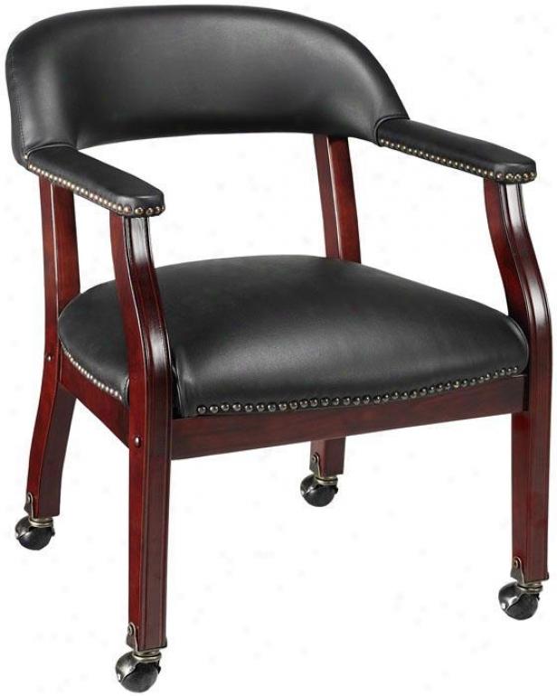 Captain's Guewt Arm Chair - Casters, Black