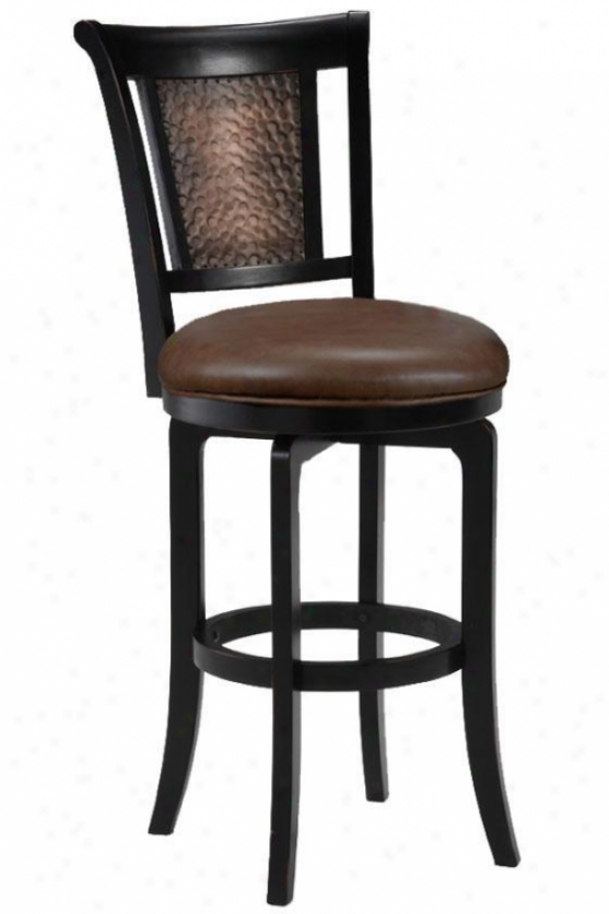 Cecily Swivel Counter Stool - Brown Vinyl, Black