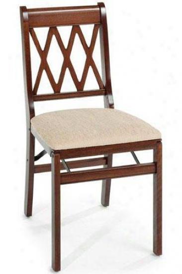 Cherry Lattice Folding Chair - Set Of 2 - Cherry, Tan