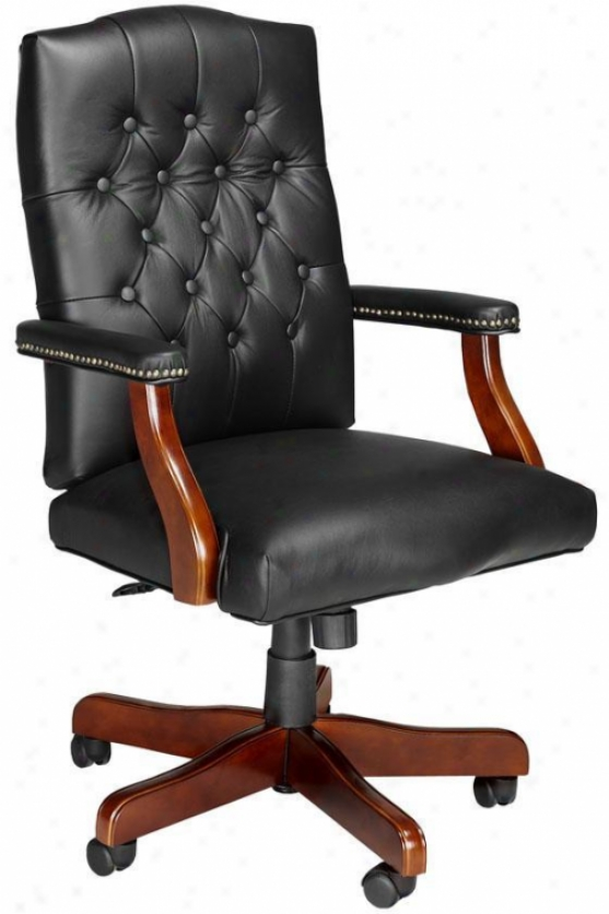 Classic Office Chair - Cherry Wood Fns, Black