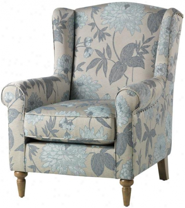 """collins Pennon Back Chair - 411""""hx32""""wx35""""d, Blue Flowers"""