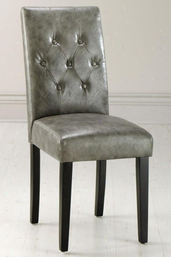 """cooper Tfted Parsons Chair - 37""""hx17.5""""w, Txtrd Lth Grey"""