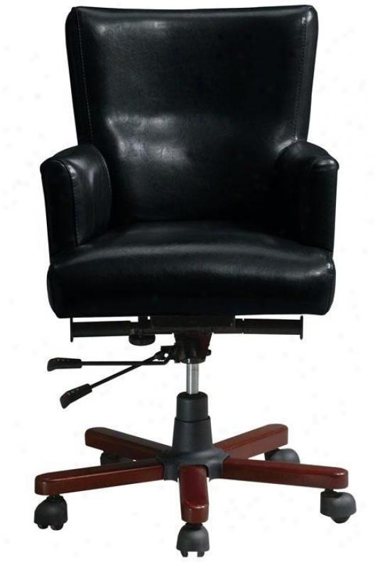 Craftsman Leather Swivel Desk Chwir - Black, Brown Oak