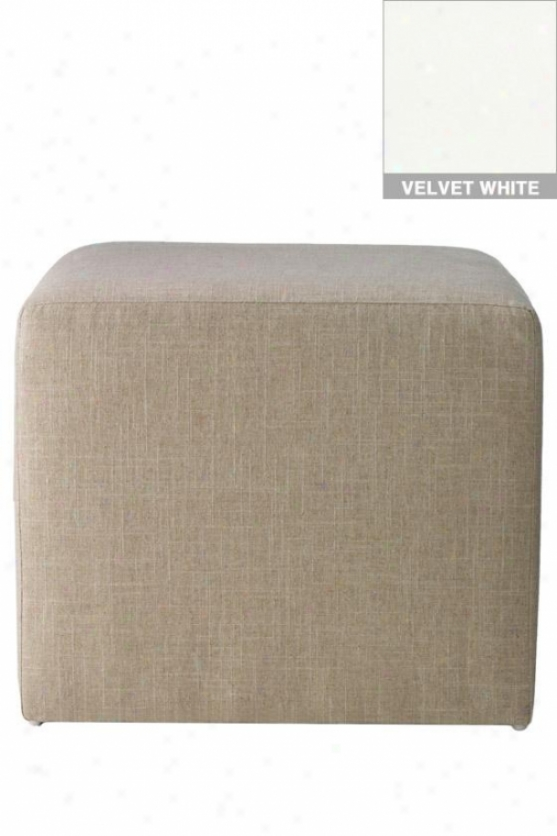 """""""cube Ottoman/stool - 18.5""""""""h, Velvet White-a"""""""