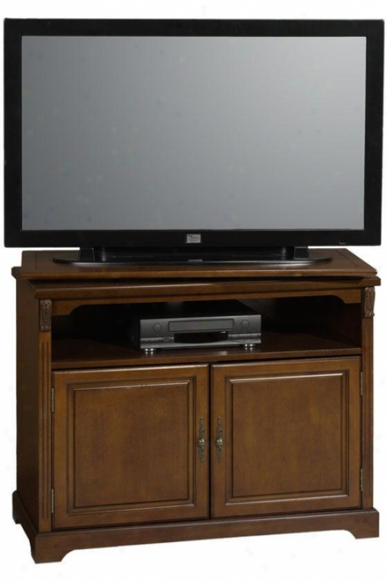 """dartmouth Tv Stand W  Swivel Top - 39.5""""w Wood-dr, French Walnut"""