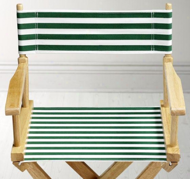 Dkrector's Chair Striped Director's Canavs Seat And Back - Striped Set, Hunter/white