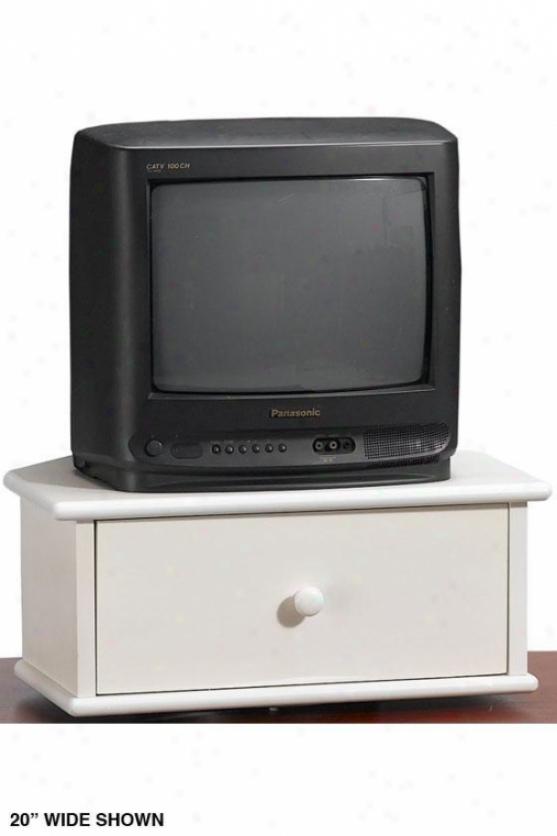 """""""drayton Tv Turntable Wih Drawer - 8.5""""""""hx32""""""""w, White"""""""