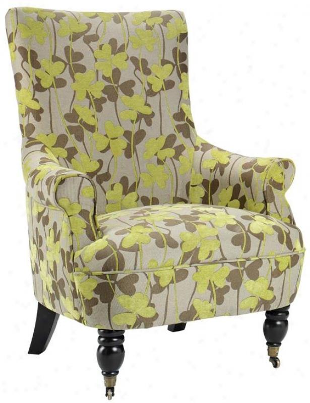 """ella Arm Chair - 41.5""""hx31""""w, Green Flowers"""