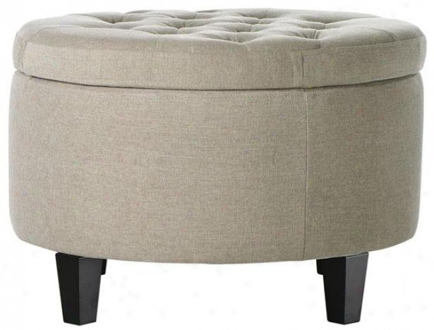 """emma Tufted Storage Ottoman - 18""""hx26""""d, Txtd Natural"""