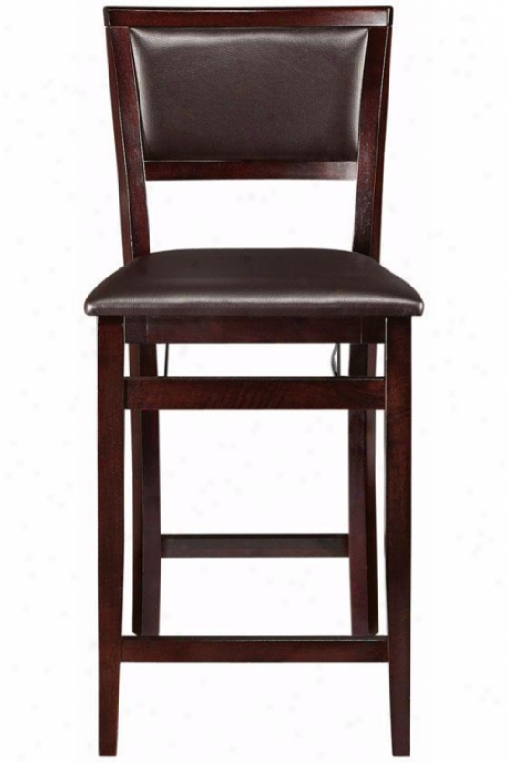 Faux Leather Foldable Counter Stool - Counter Height, Brown