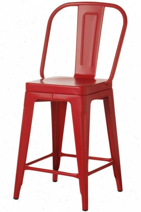Garden Counter Stool - Reckoner Height, Red