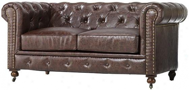 """gordon Tufted Leather Loveseat - 32""""hx66""""wx38.2"""", Brown"""