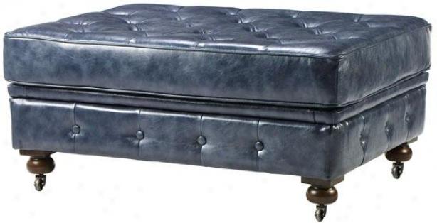 """""""gordon Tufted Leather Ottoman - 19""""""""hx41""""""""w, Blue"""""""