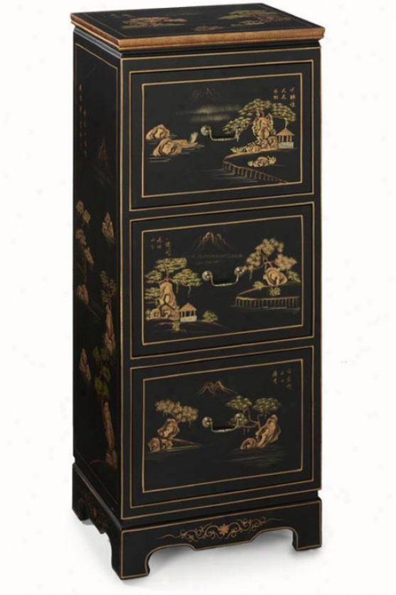 Hand-painted Milieu 3-drawer File Cabinet - Three-drawer, Black