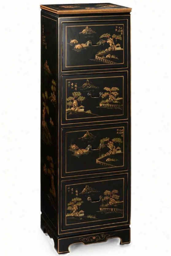 Hand-painted Milieu 4-drawer File Cabinet - Four-drawer, Black