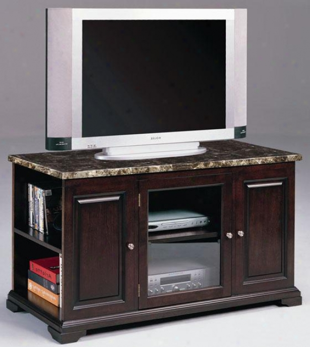 """harris Tv Console With Marble Top - 48"""" 1 Door, Coffee Brown"""