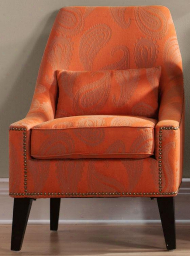 """hazelton Lounge Chair - 38.25""""hx26.5""""w, Orange Paisley"""