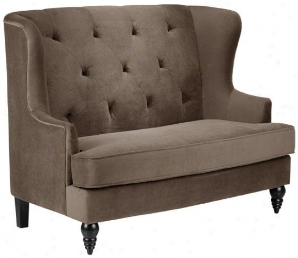 """lainey Tufted Settee - 42.5""""hx54""""w, Solid Brwn Vlvt"""