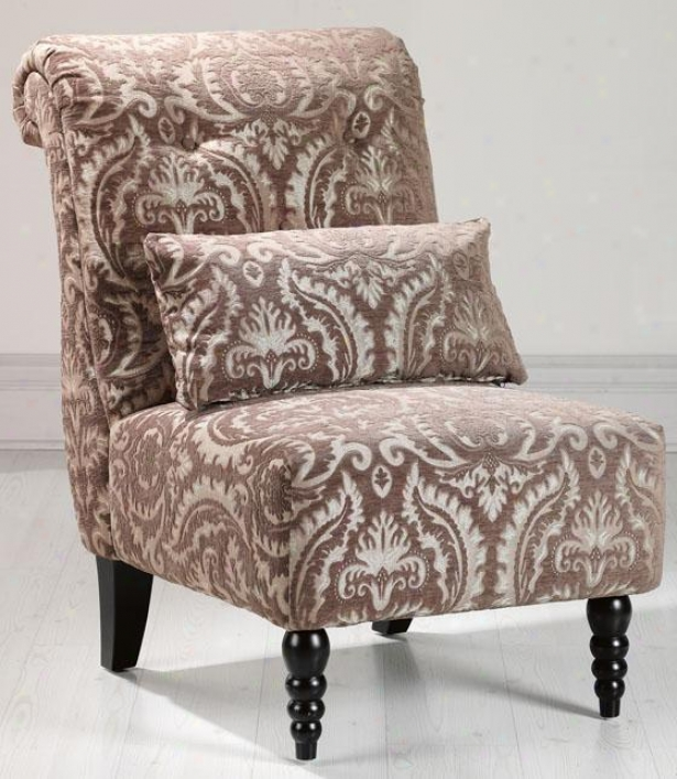 """lainey Tufted Slipper Chair - 39.5""""hx26""""w, Brwn/tan Jacqrd"""