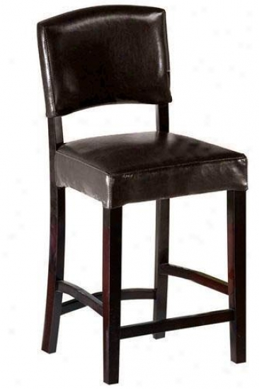 Leather Breakfast Counter Stool With Back - With Back, Brown