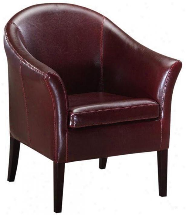 Leather Monte Carlo Club Chair - Standard, Burgundy