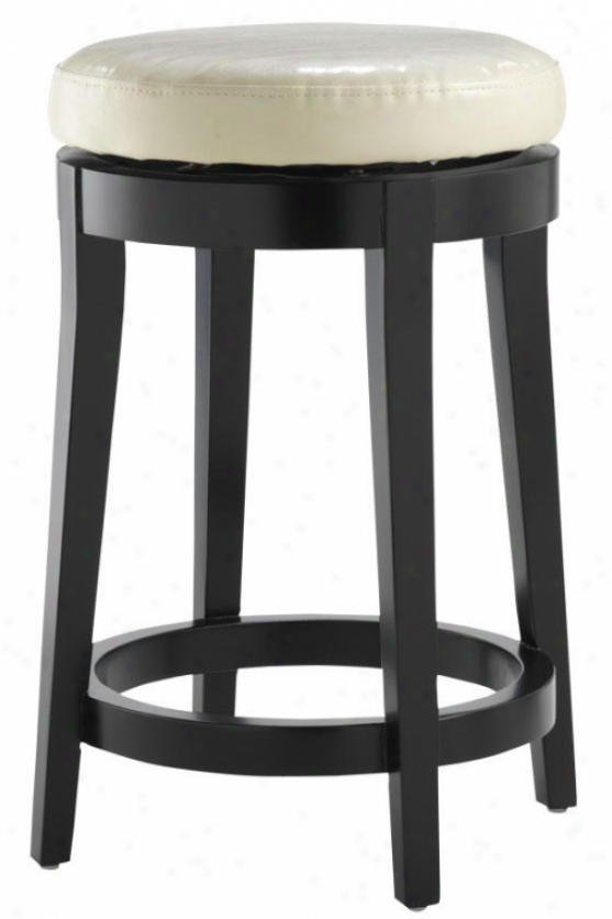 """leather Non-tufted Swivel Counter Stool - 24""""counter, Ivory"""